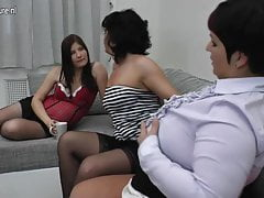 Two mature mothers fuck pregnant teeny lesbian