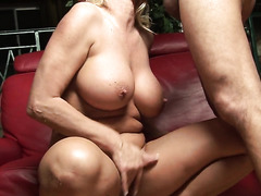 Mature pussy is juicy for his rock hard cock