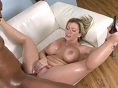 Sara Jay oiled up and fucked hard by his big black dick