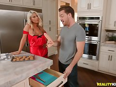 Kitchen cock riding and sucking with big-busted tow-headed MILF Bridgette B