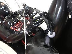 Japanese unshaded orgasm in latex gear
