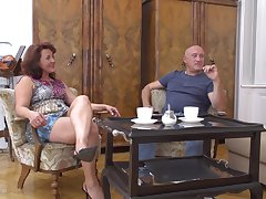 Buxom redhead grown up MILF Isadora M. takes a hard horseshit doggy style