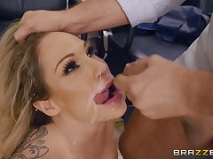 Bombshell MILF slut Tyler Self-possession licks balls and sucks gumshoe for cum