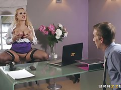 Blonde with red lipstick Angel Wicky doggy pounded increased by gets a cumshot