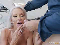 Seductive blonde MILF Emma Starr sprayed with cum on feature away from a constable