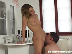 Teen beauty Lara West seduces and rides an older guy's dick