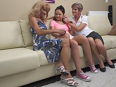 Carla S. gets seduced unconnected with mature lesbians into a trilogy