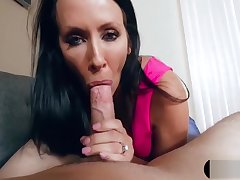 Recording MILF stepmom while she blows my chunky cock