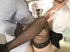 Pleasant Wife In Glasses Pleasing Her Boss After Work