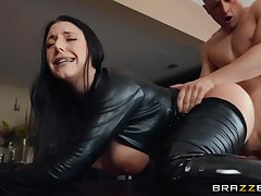 Sexy milf in a black catsuit cums from a hardcore assfucking