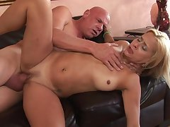 Thick grandpa cock fucks her pierced milf pussy