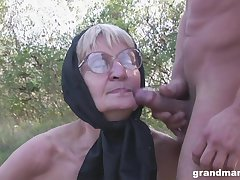 Blonde granny alongside glasses pounded and cum sprayed outdoors