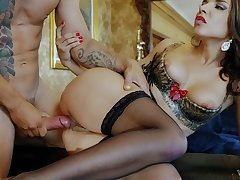 Elegant fuck lady works cock in wonderful modes