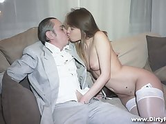 Powered businessman fucks succulent pussy of hot young courtesan Aubrey