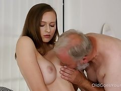 After Stacy Cruz gets caught masturbating she lets an old fart run out of gas on her