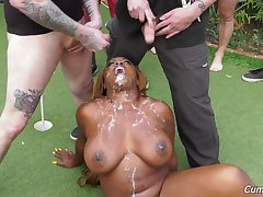 Wbony whore fucked in first-rate modes by a group be required of ragtag