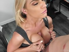 Beautiful blonde milf deepthroats a cock forth ease