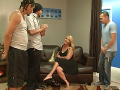 BBW Joclyn Stone tries to surrebuttal several hot blooded studs attacking her face and pussy