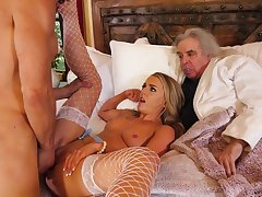 Young wife cuckolds their way rich elderly husband