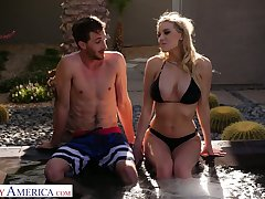 Horny busty sexpot Kenzie Taylor lures dude to be fucked in the pool