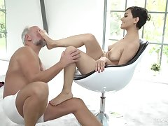 Horny young Euro whore sucks grandpa cock