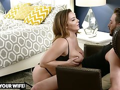 Giant breasted beauty Natasha Conscientious lets ladies' polish her slit from behind