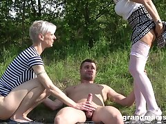outside threesome in the wood is amazing adventure for amazing blonde