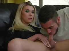 Sexy stepmom Aubrey gets a blowjob by son's friend