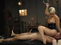 Blonde Milf dom nigh rubber lingerie torments guy