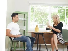 cute pretty good Amber Chase becomes scalding so she jumps on hard friend's penis