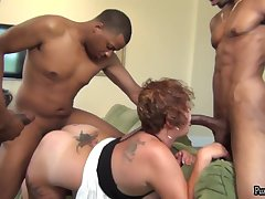 Busty and big ass BBW Incandesce in interracial gangbang with louring studs