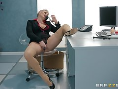 After she masturbates with a dildo Ryan Keely is accessible for boss's penis