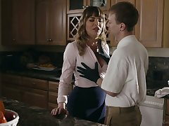 Elegant mommy Dana DeArmond bangs the brush stepson and give shim a great BJ