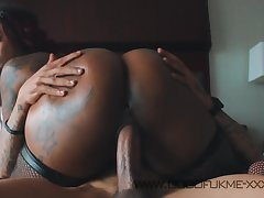 Big ass ebony mom enjoys interracial sex with the addition of cumshot with blanched dude