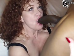Some Fieriness Curly Bitch Blowing A Really Huge Cock