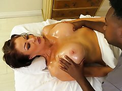 Black masseur fucks genocide hot cougar Vanessa Videl and cums in their way mouth