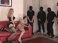 Whorish mistress in stockings corset Eleise de Lacy puts on strapon and punishes chunky guy