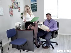 Amazing and sexy Alexis Monroe enjoys a threesome not susceptible the table