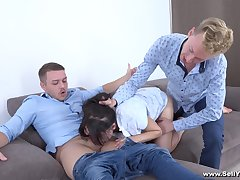 Roxy Sky is between her horny friends during a evil threesome
