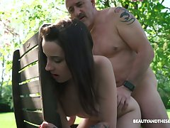 Slutty firsthand chick Charlotte Johnson gives BJ and rides dick of old pervert