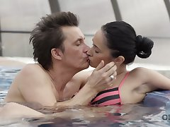 Pretty brunet girl Angie Moon is fucked wits old dude wits the poolside