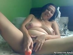 Alone webcam shady with saggy titties masturbates with toy on webcam